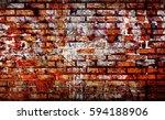 Old Brick Wall With Graffiti...