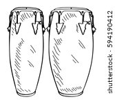 isolated outline of conga drums ...   Shutterstock .eps vector #594190412