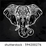 vintage style vector elephant... | Shutterstock .eps vector #594200276