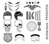 set of biker skull ornaments.... | Shutterstock .eps vector #594201926