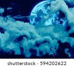full moon of a night sky   Shutterstock . vector #594202622