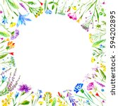 floral round frame of a wild... | Shutterstock . vector #594202895