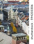Small photo of COPENHAGEN - OCTOBER 23: View over central Copenhagen, Denmark to Amagertorv and the Equestrian statue of Absalon at Hojbro Square on October 23, 2015
