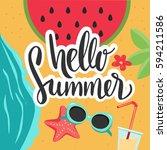 hello summer vector banner... | Shutterstock .eps vector #594211586