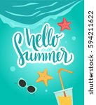 hello summer vector banner... | Shutterstock .eps vector #594211622