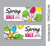 spring sale banner template... | Shutterstock .eps vector #594216146