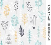 seamless vector floral pattern  ... | Shutterstock .eps vector #594217076