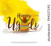 vector illustration of ugadi... | Shutterstock .eps vector #594227192