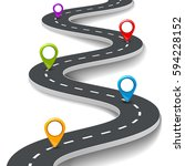 vector 3d road infographic... | Shutterstock .eps vector #594228152
