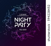 night party poster. shiny... | Shutterstock .eps vector #594228452