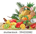 basket with tropical fruits and ... | Shutterstock .eps vector #594232082