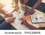 team meeting brainstorming... | Shutterstock . vector #594238898