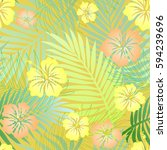 seamless colorful tropical... | Shutterstock . vector #594239696