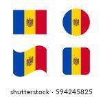 set 4 flags of moldova | Shutterstock .eps vector #594245825