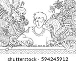 dj playing music for coloring... | Shutterstock .eps vector #594245912