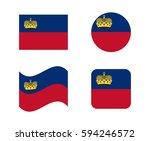 set 4 flags of liechtenstein | Shutterstock .eps vector #594246572