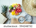 fresh fruit plate and set of... | Shutterstock . vector #594248732