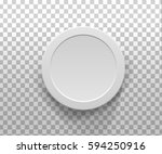 3d  white round gift box top... | Shutterstock . vector #594250916