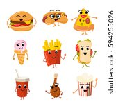 funny fast food vector... | Shutterstock .eps vector #594255026