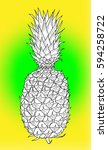 pineapple hand drawn ink sketch ... | Shutterstock .eps vector #594258722