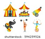 set of circus icon. vintage... | Shutterstock .eps vector #594259526