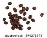pile coffee beans isolated on... | Shutterstock . vector #594278576