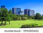 tokyo skyline in the imperial... | Shutterstock . vector #594285602