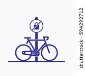 bicycle parking icon. sign flat ... | Shutterstock .eps vector #594292712