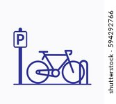 bicycle parking icon. sign flat ... | Shutterstock .eps vector #594292766