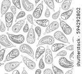 grey feathers seamless pattern | Shutterstock .eps vector #594292802