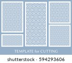 decorative panels set for laser ... | Shutterstock .eps vector #594293606