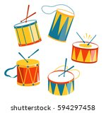 Festive Carnival Drums Isolated on White Background
