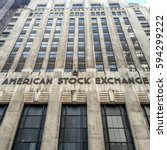 Small photo of NEW YORK CITY - FEBRUARY 28 2017: The historic American Stock Exchange (AMEX) is now controlled by the NYSE but was originally formed by curbstone brokers