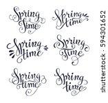 spring time lettering... | Shutterstock .eps vector #594301652