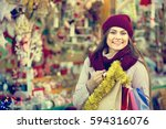 portrait of  caucasian female... | Shutterstock . vector #594316076