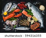 fresh fish and seafood... | Shutterstock . vector #594316355