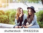 portrait of two beautiful young ... | Shutterstock . vector #594322316
