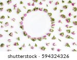 frame with pink flowers and... | Shutterstock . vector #594324326