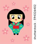 cute kokeshi girl vector | Shutterstock .eps vector #594326402