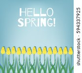 hello spring. spring card with... | Shutterstock .eps vector #594337925