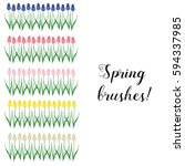 hello spring. brushes of spring ... | Shutterstock .eps vector #594337985
