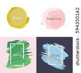 set of  grunge circles and... | Shutterstock .eps vector #594350162