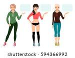 young woman in sportswear... | Shutterstock .eps vector #594366992