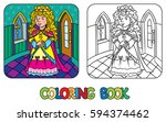 coloring book or coloring... | Shutterstock .eps vector #594374462