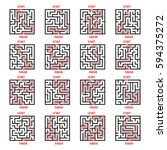 maze game with solution set.... | Shutterstock .eps vector #594375272