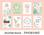 set of artistic creative spring ... | Shutterstock .eps vector #594381485