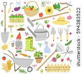 gardening icon vector set.... | Shutterstock .eps vector #594383522