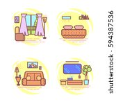 set bedroom thin line art. | Shutterstock .eps vector #594387536