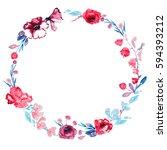round frame of roses flowers... | Shutterstock . vector #594393212