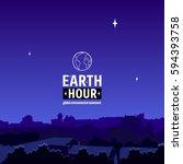earth hour movement... | Shutterstock .eps vector #594393758